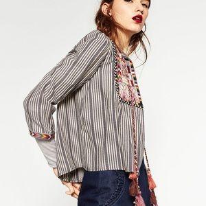 ZARA    Trafaluc Embroidered Jacket Tassel Tie M